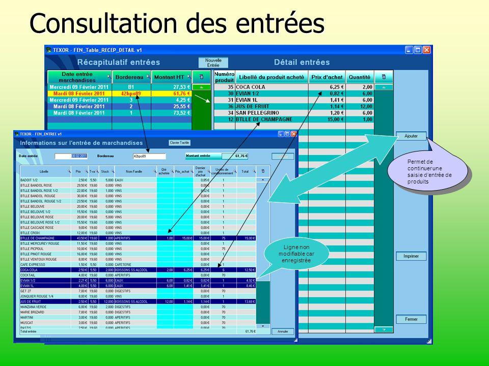 Consultation des entrées Permet de continuer une saisie d'entrée de produits Ligne non modifiable car enregistrée