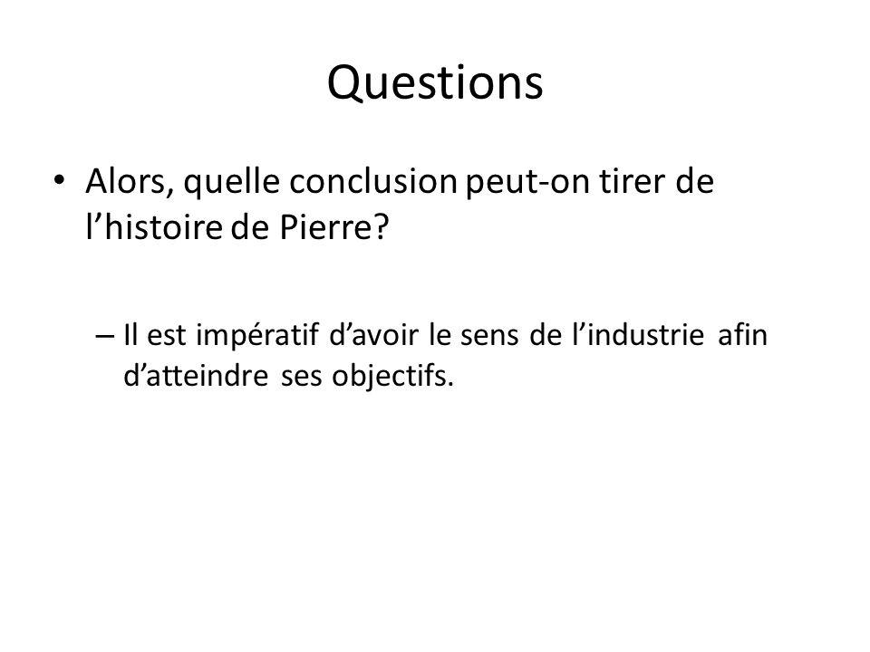 Questions Alors, quelle conclusion peut-on tirer de l'histoire de Pierre.