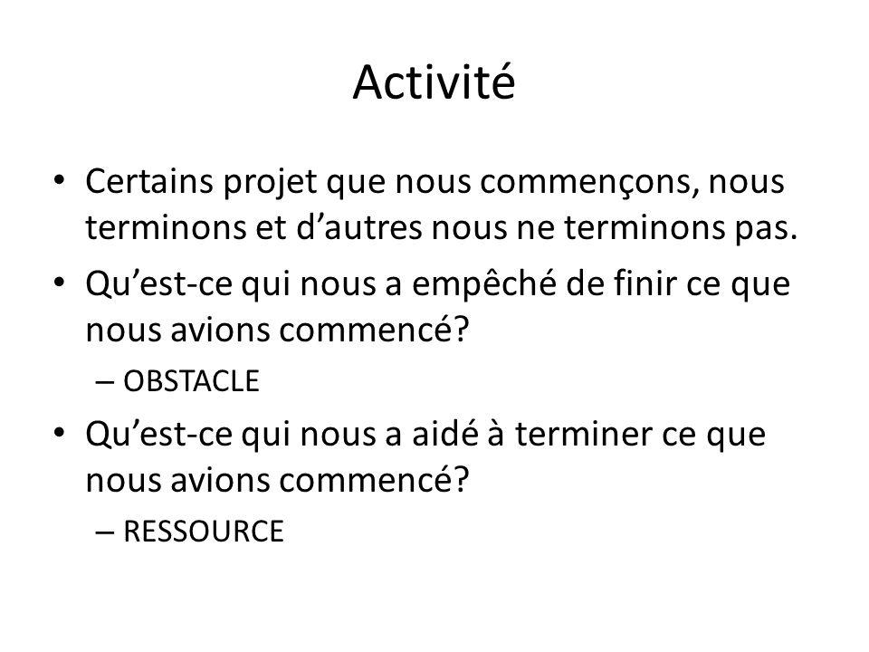 Activité Certains projet que nous commençons, nous terminons et d'autres nous ne terminons pas.