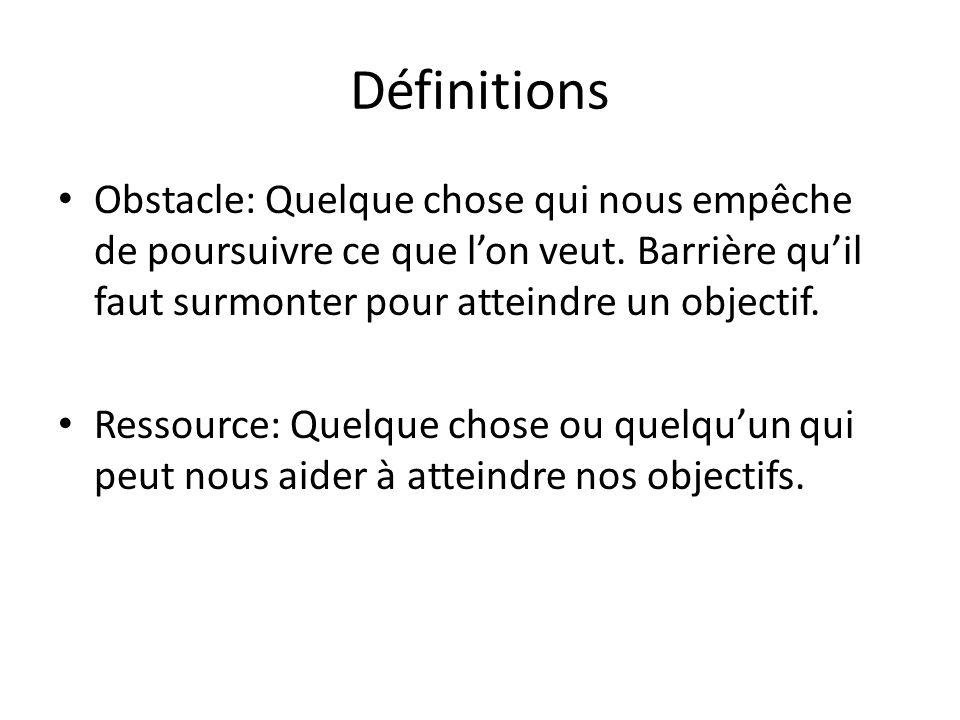 Définitions Obstacle: Quelque chose qui nous empêche de poursuivre ce que l'on veut.