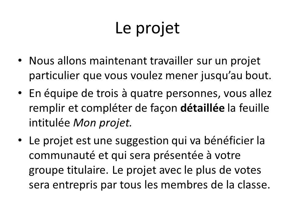 Le projet Nous allons maintenant travailler sur un projet particulier que vous voulez mener jusqu'au bout.