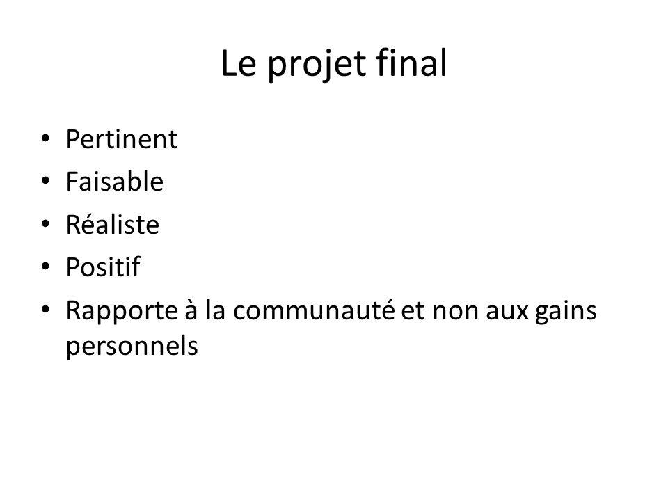 Le projet final Pertinent Faisable Réaliste Positif Rapporte à la communauté et non aux gains personnels