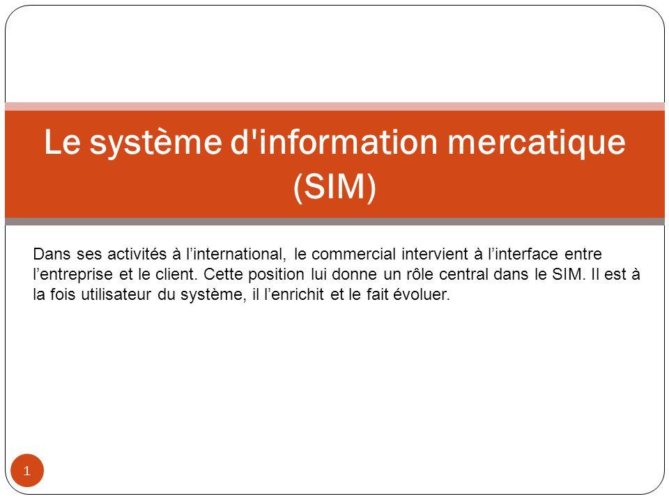 1 Le système d'information mercatique (SIM) Dans ses activités à l'international, le commercial intervient à l'interface entre l'entreprise et le clie
