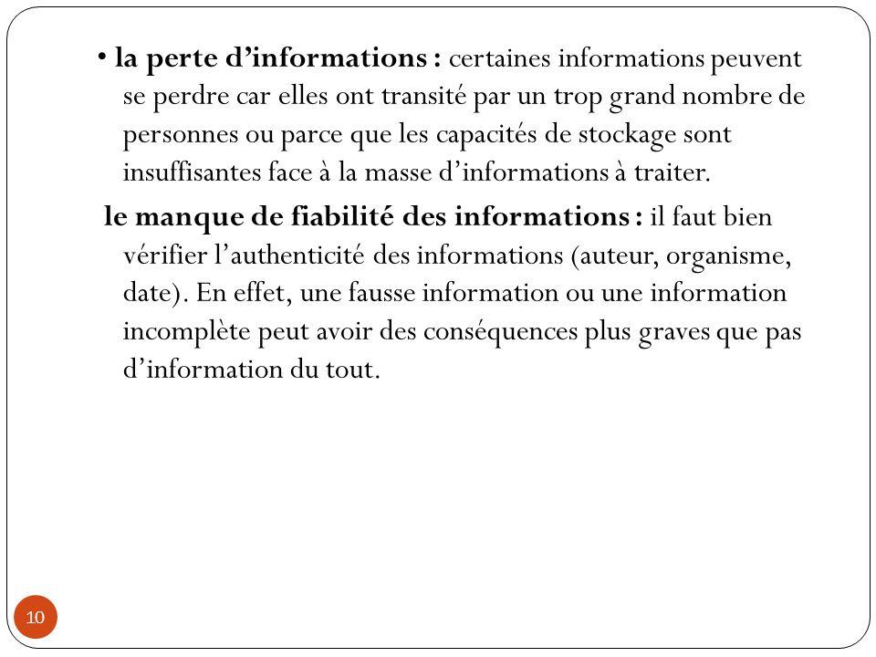 10 la perte d'informations : certaines informations peuvent se perdre car elles ont transité par un trop grand nombre de personnes ou parce que les ca