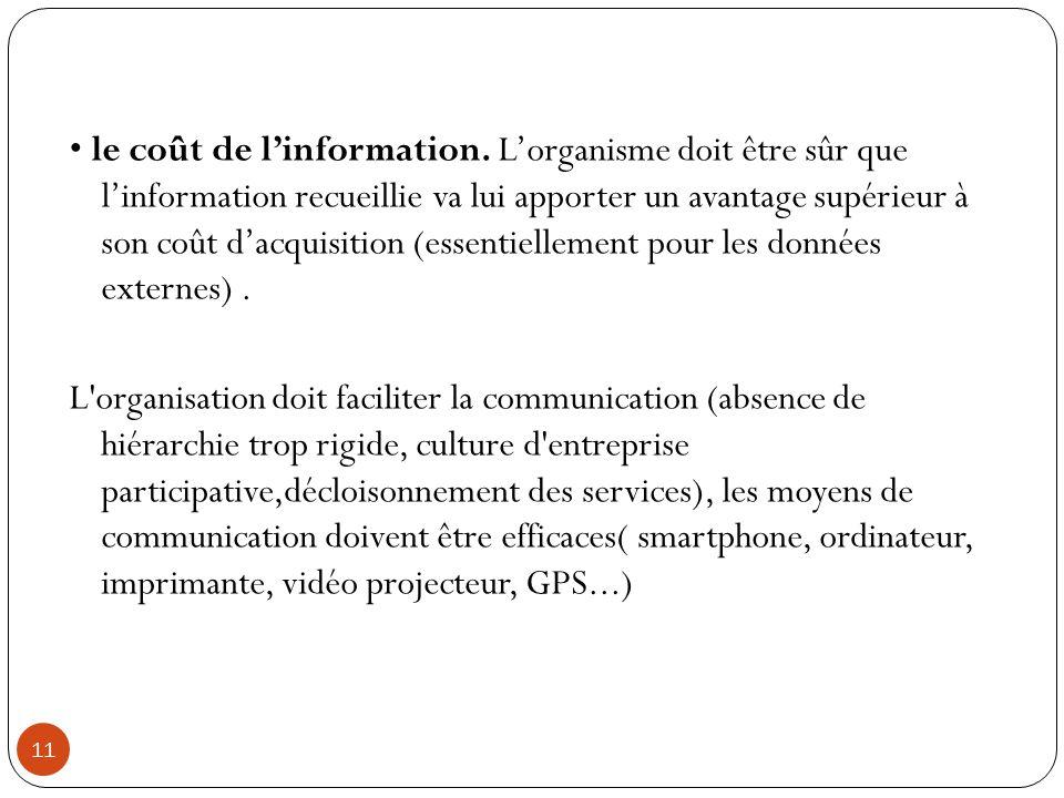 11 le coût de l'information. L'organisme doit être sûr que l'information recueillie va lui apporter un avantage supérieur à son coût d'acquisition (es