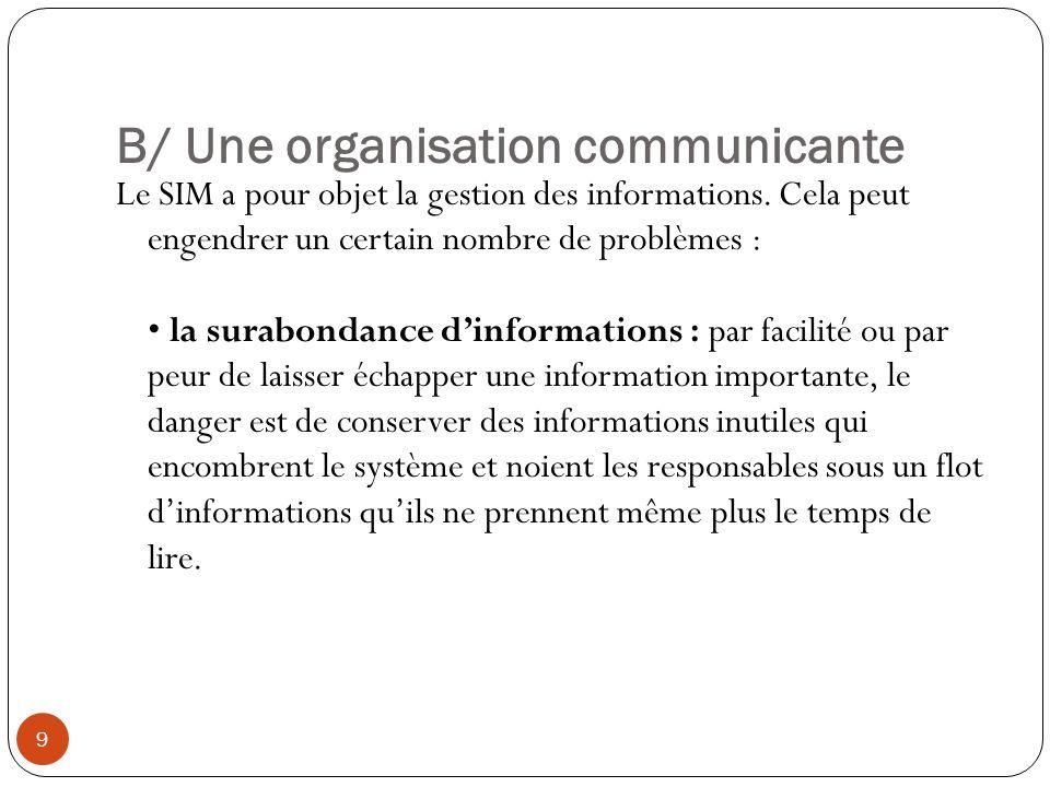 B/ Une organisation communicante 9 Le SIM a pour objet la gestion des informations. Cela peut engendrer un certain nombre de problèmes : la surabondan