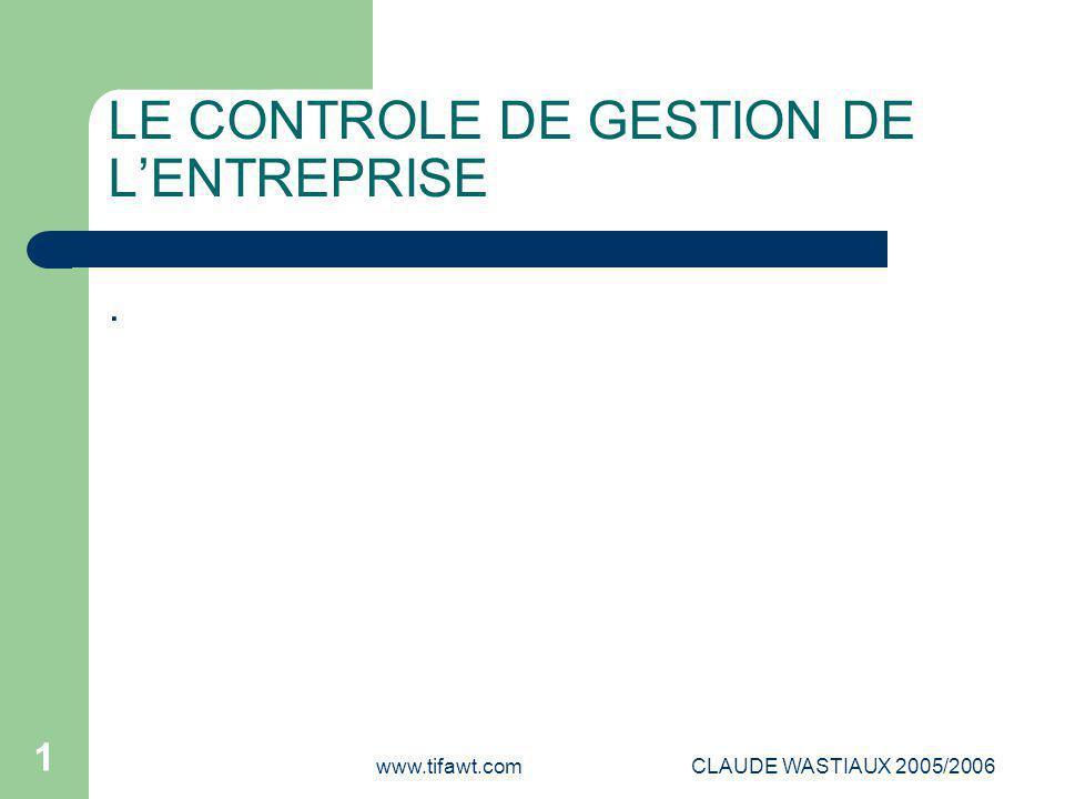 www.tifawt.comCLAUDE WASTIAUX 2005/2006 12 Les problématiques fondamentales du contrôle de gestion Objectifs de l'entreprise et objectifs des individus Les centres de responsabilité