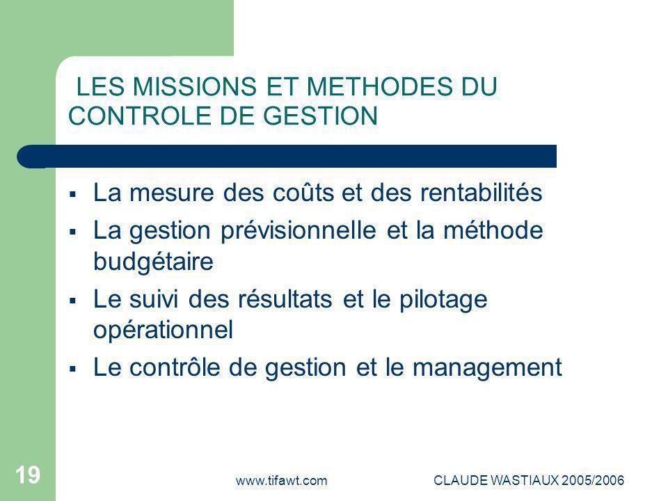 www.tifawt.comCLAUDE WASTIAUX 2005/2006 19 LES MISSIONS ET METHODES DU CONTROLE DE GESTION  La mesure des coûts et des rentabilités  La gestion prév