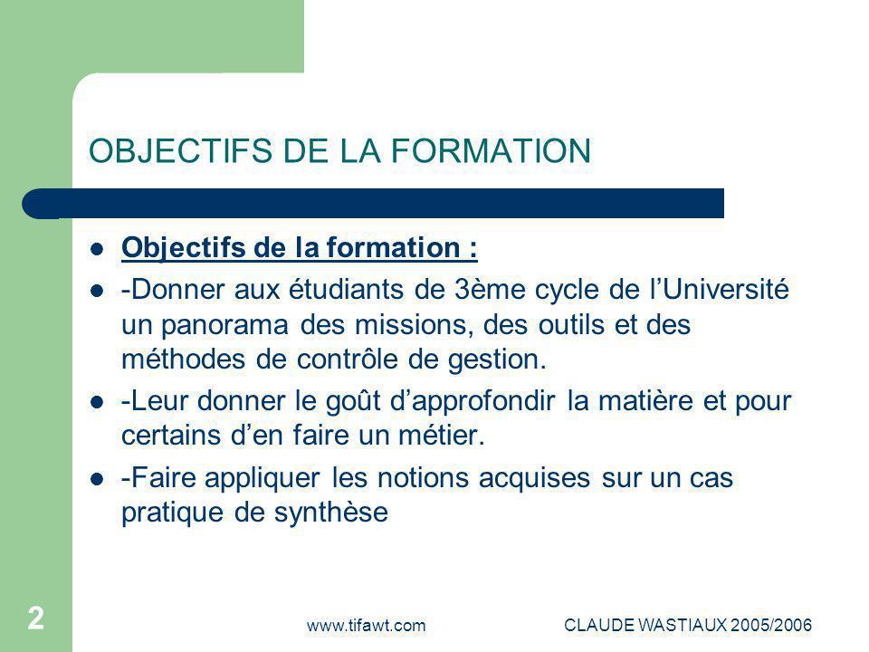 www.tifawt.comCLAUDE WASTIAUX 2005/2006 2 OBJECTIFS DE LA FORMATION Objectifs de la formation : -Donner aux étudiants de 3ème cycle de l'Université un