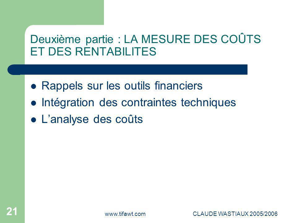 www.tifawt.comCLAUDE WASTIAUX 2005/2006 21 Deuxième partie : LA MESURE DES COÛTS ET DES RENTABILITES Rappels sur les outils financiers Intégration des