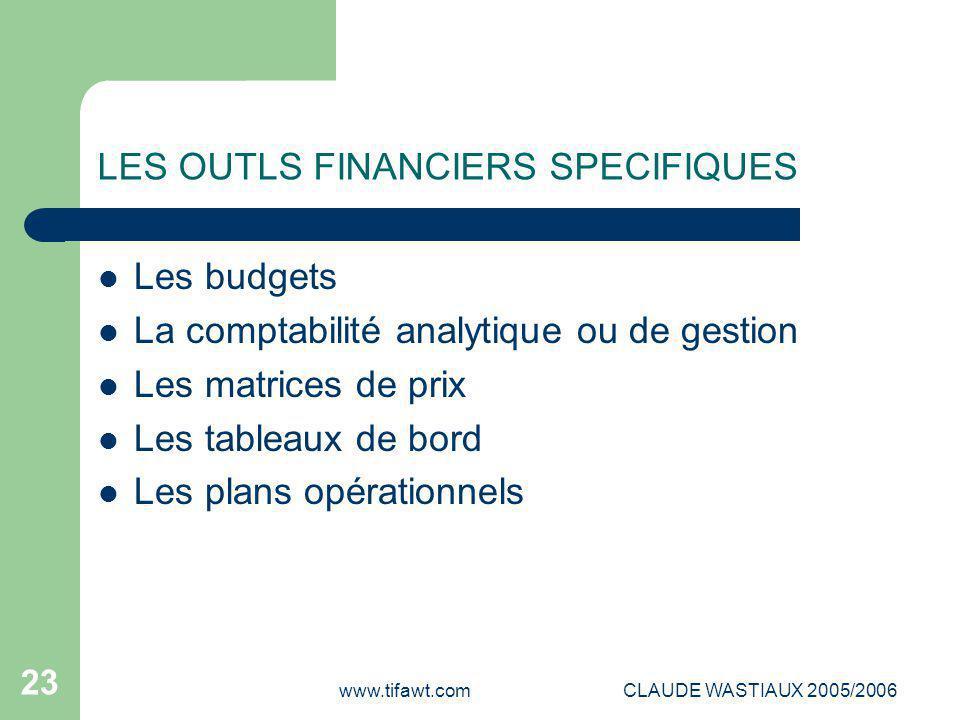 www.tifawt.comCLAUDE WASTIAUX 2005/2006 23 LES OUTLS FINANCIERS SPECIFIQUES Les budgets La comptabilité analytique ou de gestion Les matrices de prix