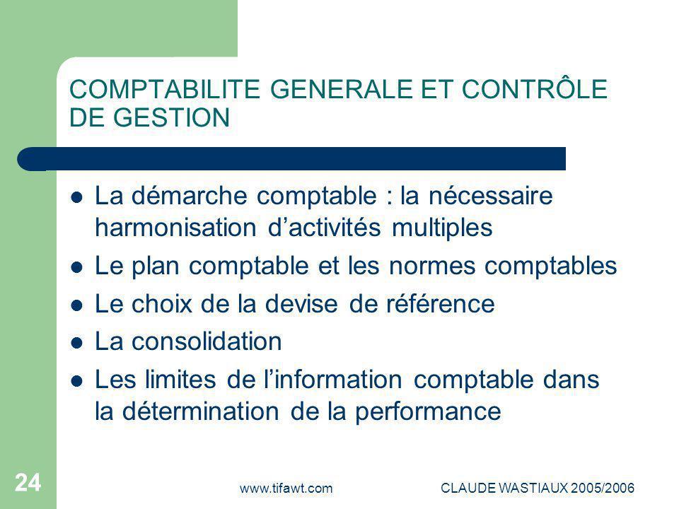 www.tifawt.comCLAUDE WASTIAUX 2005/2006 24 COMPTABILITE GENERALE ET CONTRÔLE DE GESTION La démarche comptable : la nécessaire harmonisation d'activité