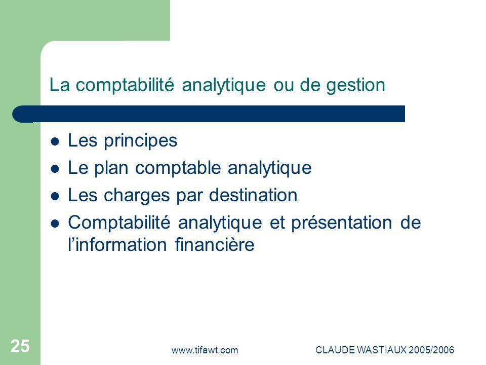 www.tifawt.comCLAUDE WASTIAUX 2005/2006 25 La comptabilité analytique ou de gestion Les principes Le plan comptable analytique Les charges par destina