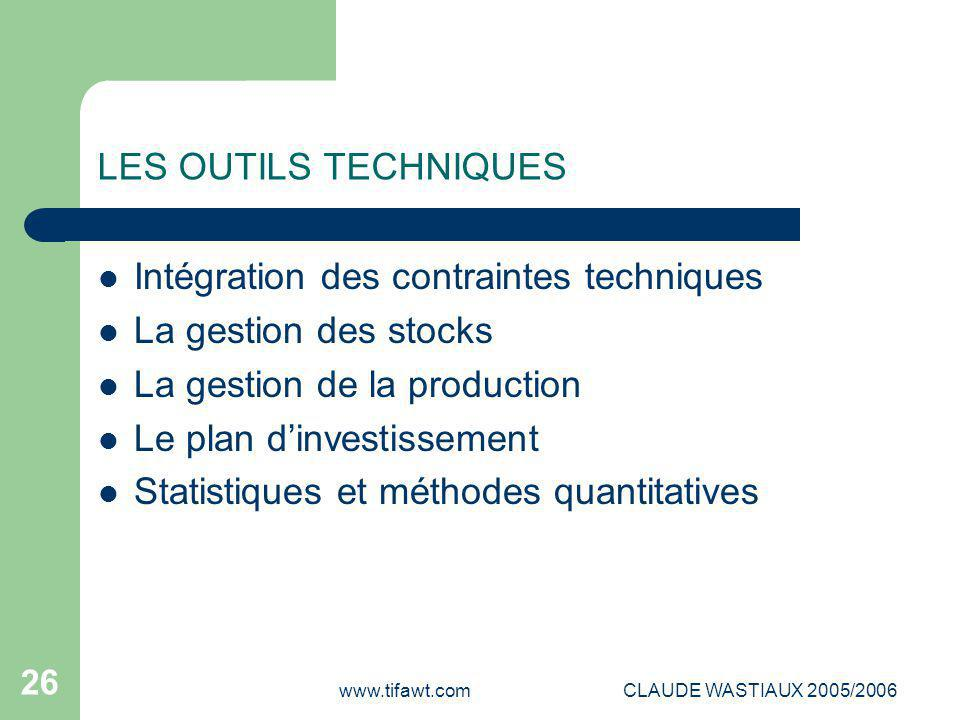 www.tifawt.comCLAUDE WASTIAUX 2005/2006 26 LES OUTILS TECHNIQUES Intégration des contraintes techniques La gestion des stocks La gestion de la product