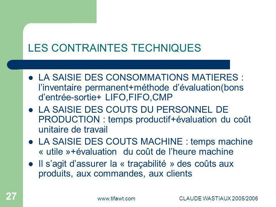 www.tifawt.comCLAUDE WASTIAUX 2005/2006 27 LES CONTRAINTES TECHNIQUES LA SAISIE DES CONSOMMATIONS MATIERES : l'inventaire permanent+méthode d'évaluati
