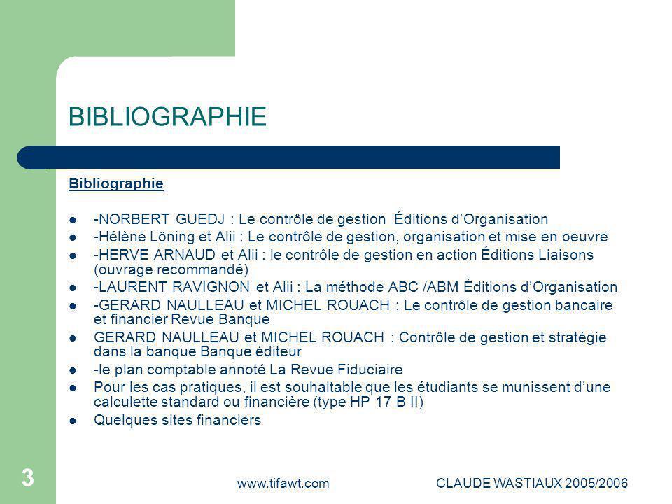 www.tifawt.comCLAUDE WASTIAUX 2005/2006 3 BIBLIOGRAPHIE Bibliographie -NORBERT GUEDJ : Le contrôle de gestion Éditions d'Organisation -Hélène Löning e