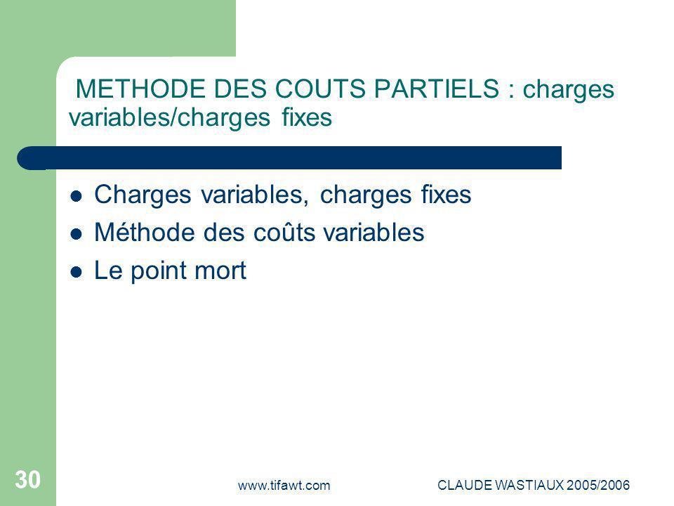 www.tifawt.comCLAUDE WASTIAUX 2005/2006 30 METHODE DES COUTS PARTIELS : charges variables/charges fixes Charges variables, charges fixes Méthode des c