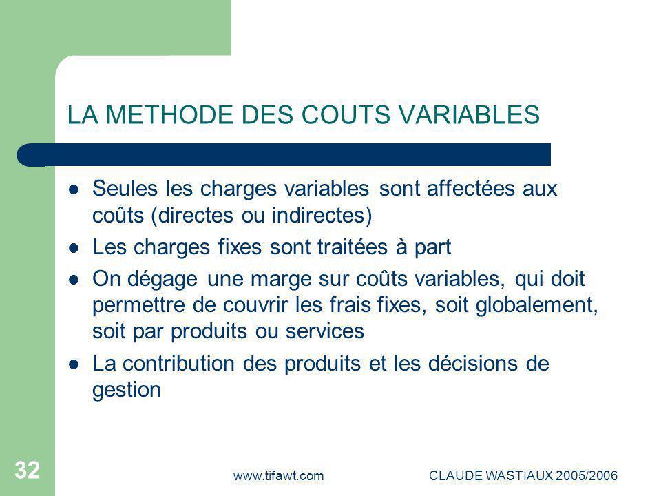 www.tifawt.comCLAUDE WASTIAUX 2005/2006 32 LA METHODE DES COUTS VARIABLES Seules les charges variables sont affectées aux coûts (directes ou indirecte