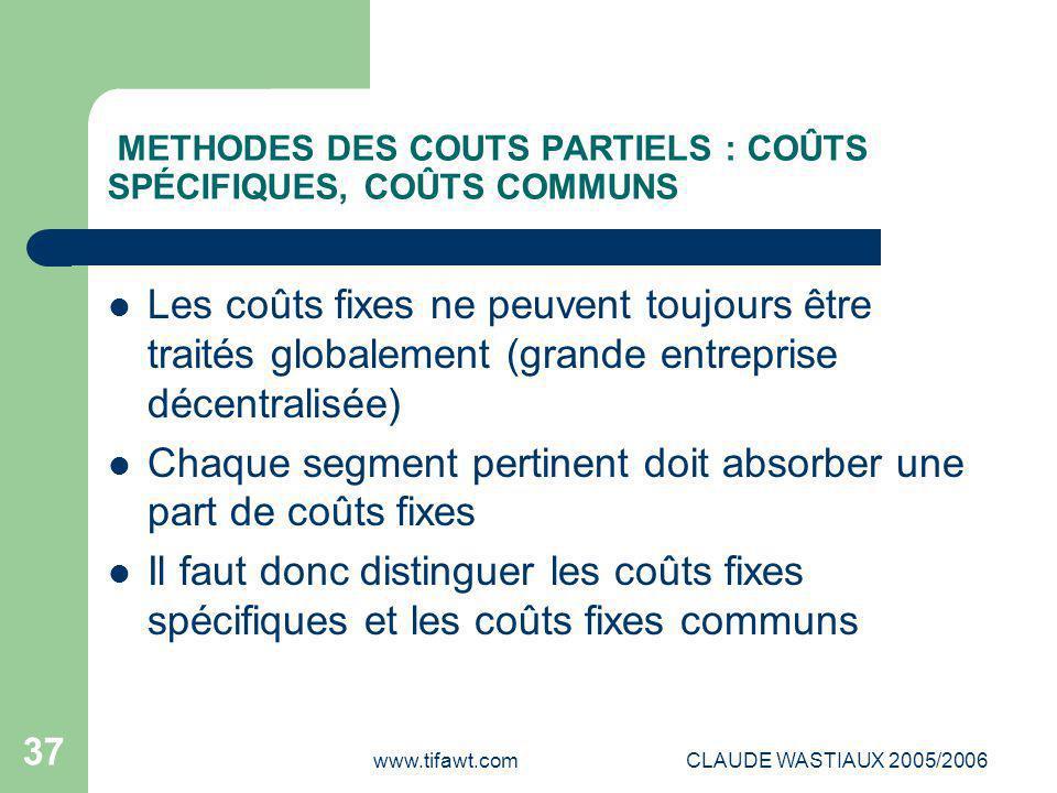 www.tifawt.comCLAUDE WASTIAUX 2005/2006 37 METHODES DES COUTS PARTIELS : COÛTS SPÉCIFIQUES, COÛTS COMMUNS Les coûts fixes ne peuvent toujours être tra