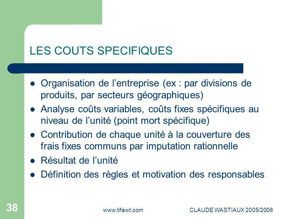 www.tifawt.comCLAUDE WASTIAUX 2005/2006 38 LES COUTS SPECIFIQUES Organisation de l'entreprise (ex : par divisions de produits, par secteurs géographiq