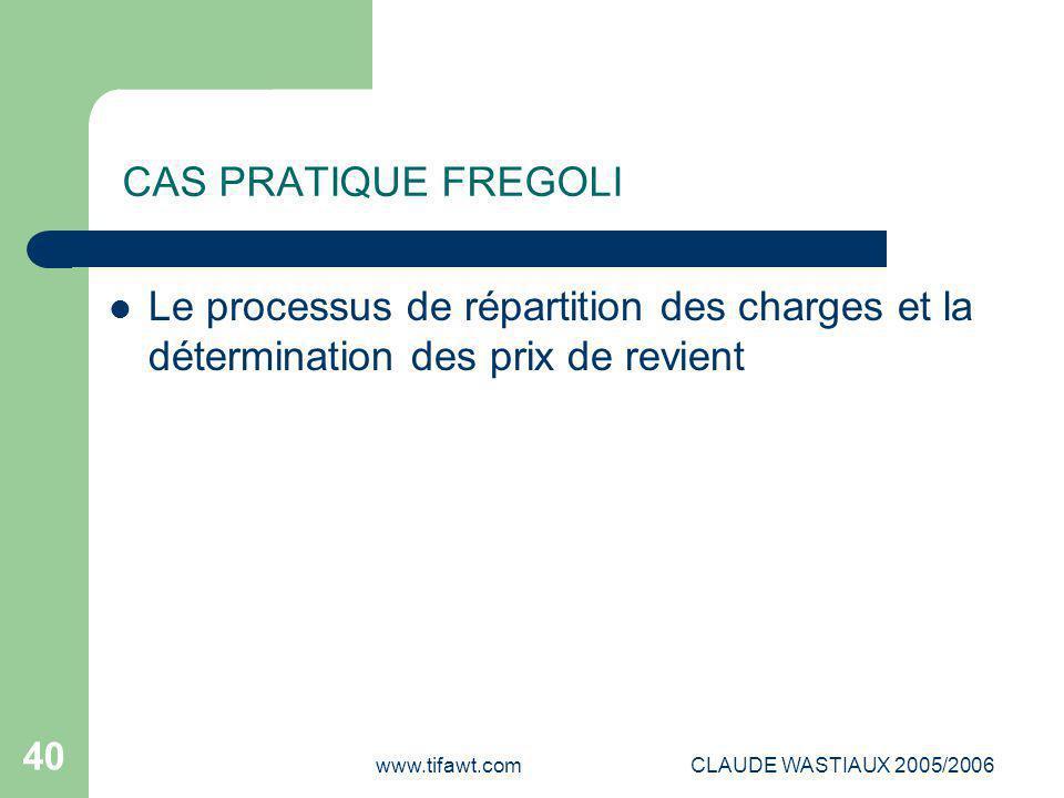 www.tifawt.comCLAUDE WASTIAUX 2005/2006 40 CAS PRATIQUE FREGOLI Le processus de répartition des charges et la détermination des prix de revient