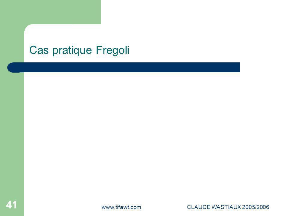 www.tifawt.comCLAUDE WASTIAUX 2005/2006 41 Cas pratique Fregoli