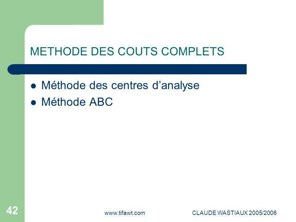 www.tifawt.comCLAUDE WASTIAUX 2005/2006 42 METHODE DES COUTS COMPLETS Méthode des centres d'analyse Méthode ABC