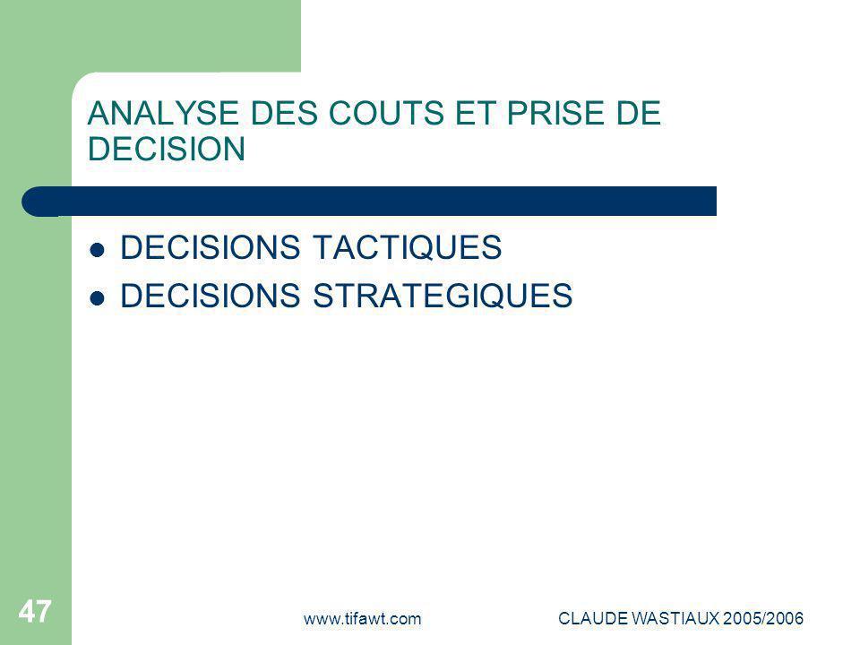 www.tifawt.comCLAUDE WASTIAUX 2005/2006 47 ANALYSE DES COUTS ET PRISE DE DECISION DECISIONS TACTIQUES DECISIONS STRATEGIQUES