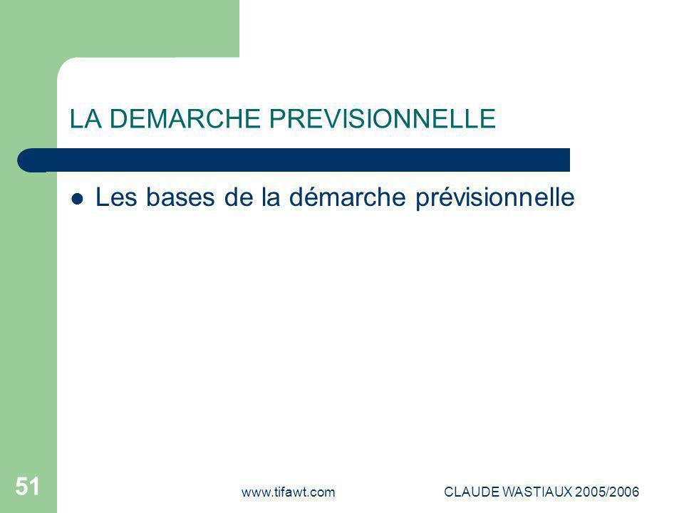 www.tifawt.comCLAUDE WASTIAUX 2005/2006 51 LA DEMARCHE PREVISIONNELLE Les bases de la démarche prévisionnelle
