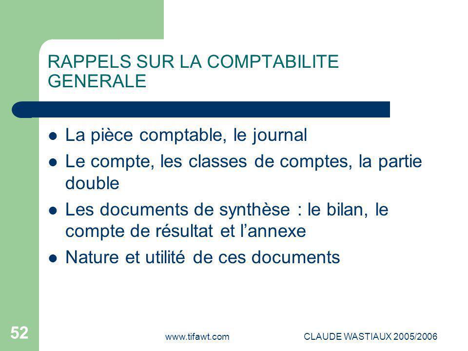 www.tifawt.comCLAUDE WASTIAUX 2005/2006 52 RAPPELS SUR LA COMPTABILITE GENERALE La pièce comptable, le journal Le compte, les classes de comptes, la p