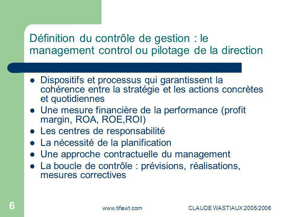 www.tifawt.comCLAUDE WASTIAUX 2005/2006 27 LES CONTRAINTES TECHNIQUES LA SAISIE DES CONSOMMATIONS MATIERES : l'inventaire permanent+méthode d'évaluation(bons d'entrée-sortie+ LIFO,FIFO,CMP LA SAISIE DES COUTS DU PERSONNEL DE PRODUCTION : temps productif+évaluation du coût unitaire de travail LA SAISIE DES COUTS MACHINE : temps machine « utile »+évaluation du coût de l'heure machine Il s'agit d'assurer la « traçabilité » des coûts aux produits, aux commandes, aux clients