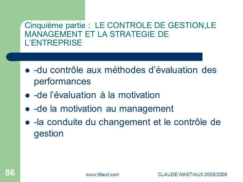 www.tifawt.comCLAUDE WASTIAUX 2005/2006 86 Cinquième partie : LE CONTROLE DE GESTION,LE MANAGEMENT ET LA STRATEGIE DE L'ENTREPRISE -du contrôle aux mé