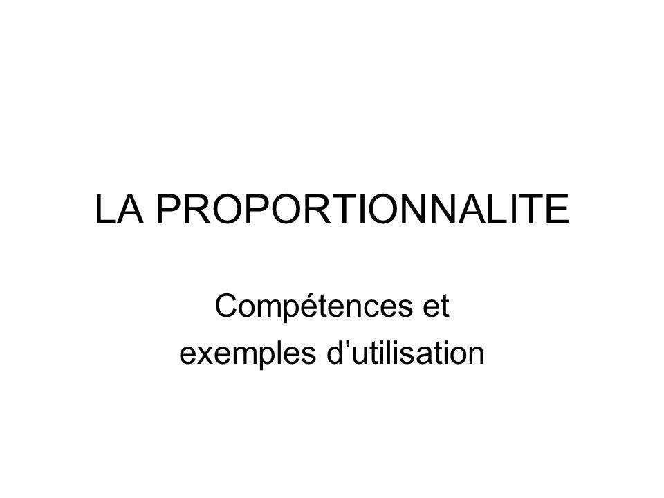 LA PROPORTIONNALITE Compétences et exemples d'utilisation
