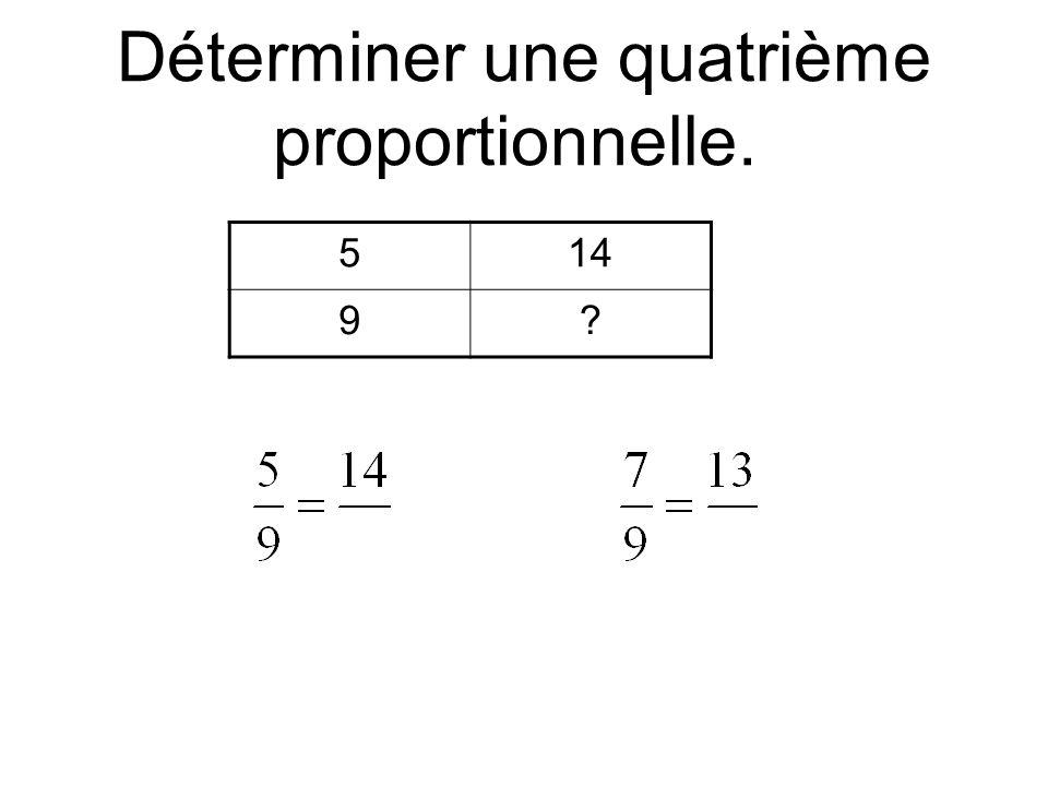Déterminer une quatrième proportionnelle. 514 9?