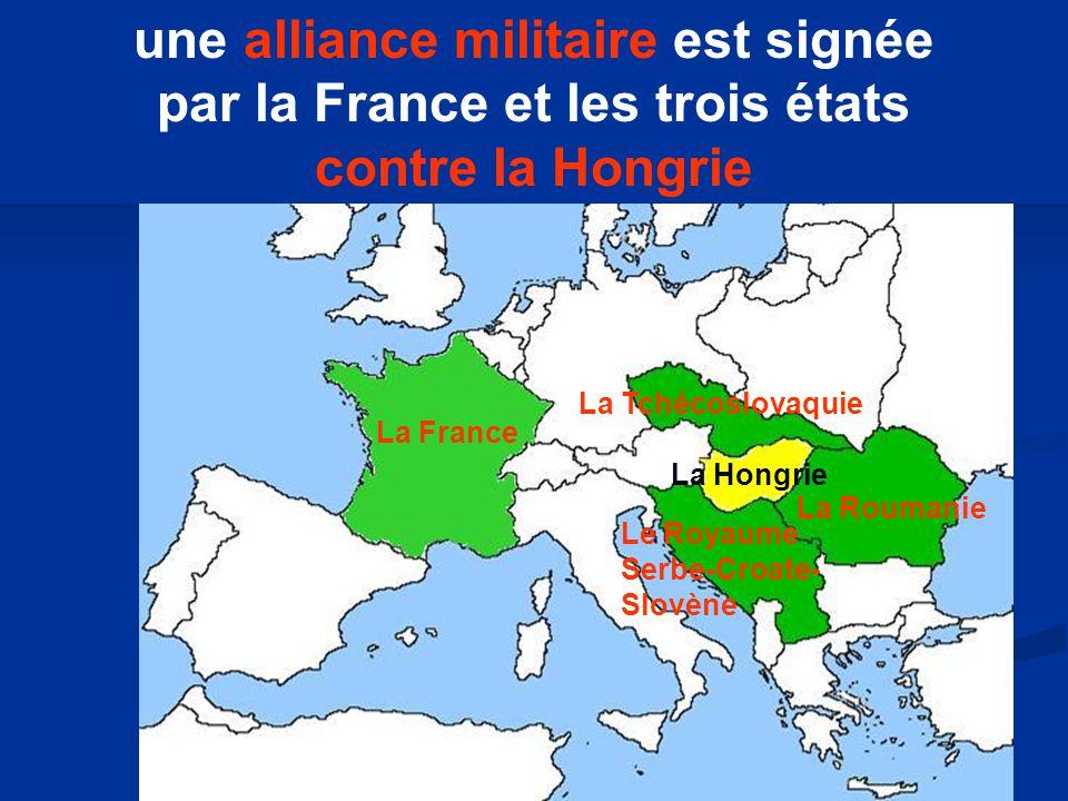 La France La Tchécoslovaquie La Roumanie Le Royaume Serbe-Croate- Slovène La Hongrie une alliance militaire est signée par la France et les trois états contre la Hongrie