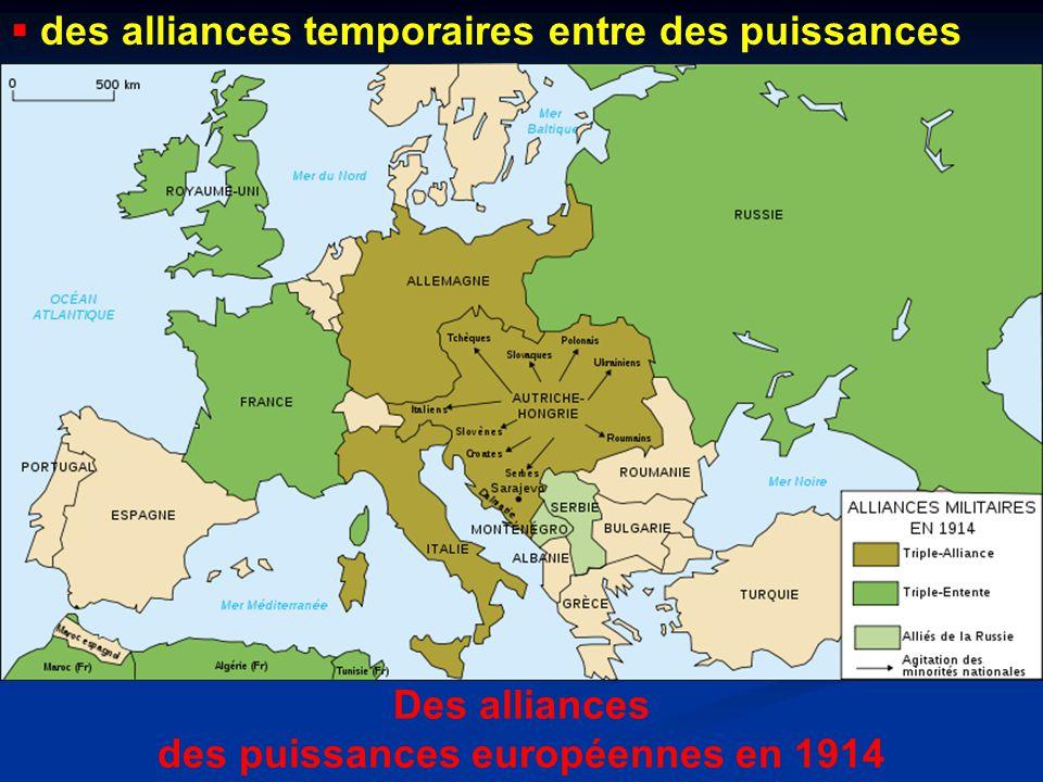 Des alliances des puissances européennes en 1914  des alliances temporaires entre des puissances