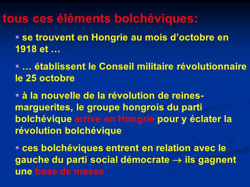 tous ces éléments bolchéviques:  se trouvent en Hongrie au mois d'octobre en 1918 et …  … établissent le Conseil militaire révolutionnaire le 25 octobre  à la nouvelle de la révolution de reines- marguerites, le groupe hongrois du parti bolchévique arrive en Hongrie pour y éclater la révolution bolchévique  ces bolchéviques entrent en relation avec le gauche du parti social démocrate  ils gagnent une base de masse