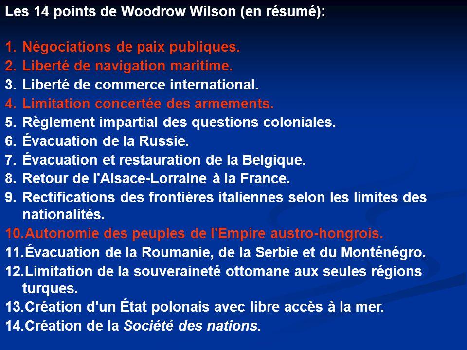 Les 14 points de Woodrow Wilson (en résumé): 1.Négociations de paix publiques.