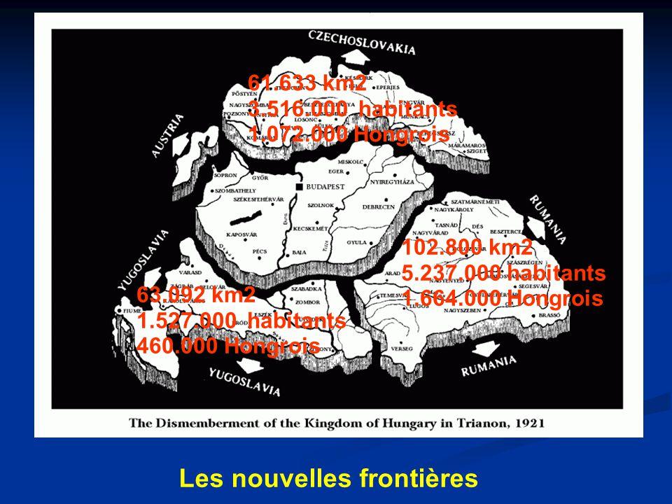 Les nouvelles frontières 102.800 km2 5.237.000 habitants 1.664.000 Hongrois 63.092 km2 1.527.000 habitants 460.000 Hongrois 61.633 km2 3.516.000 habitants 1.072.000 Hongrois