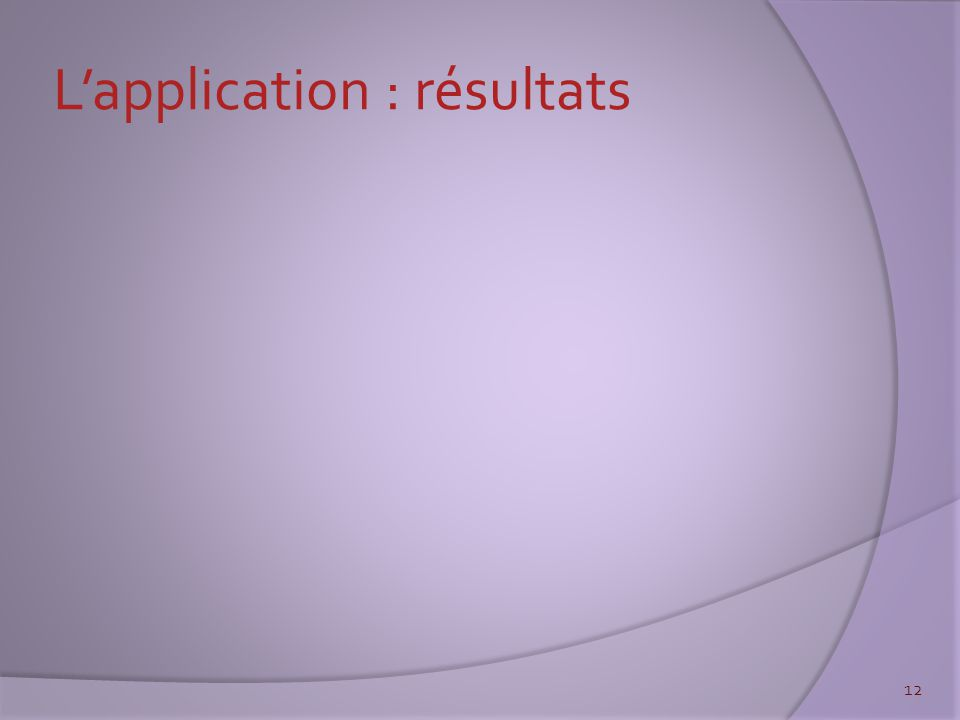 L'application : résultats 12