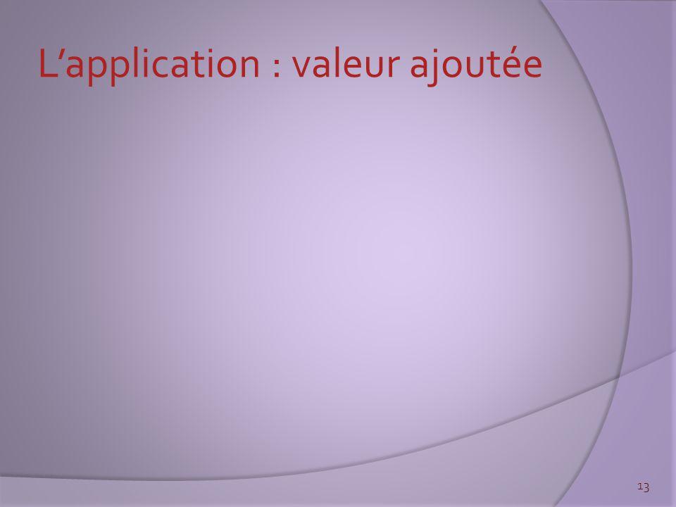 L'application : valeur ajoutée 13