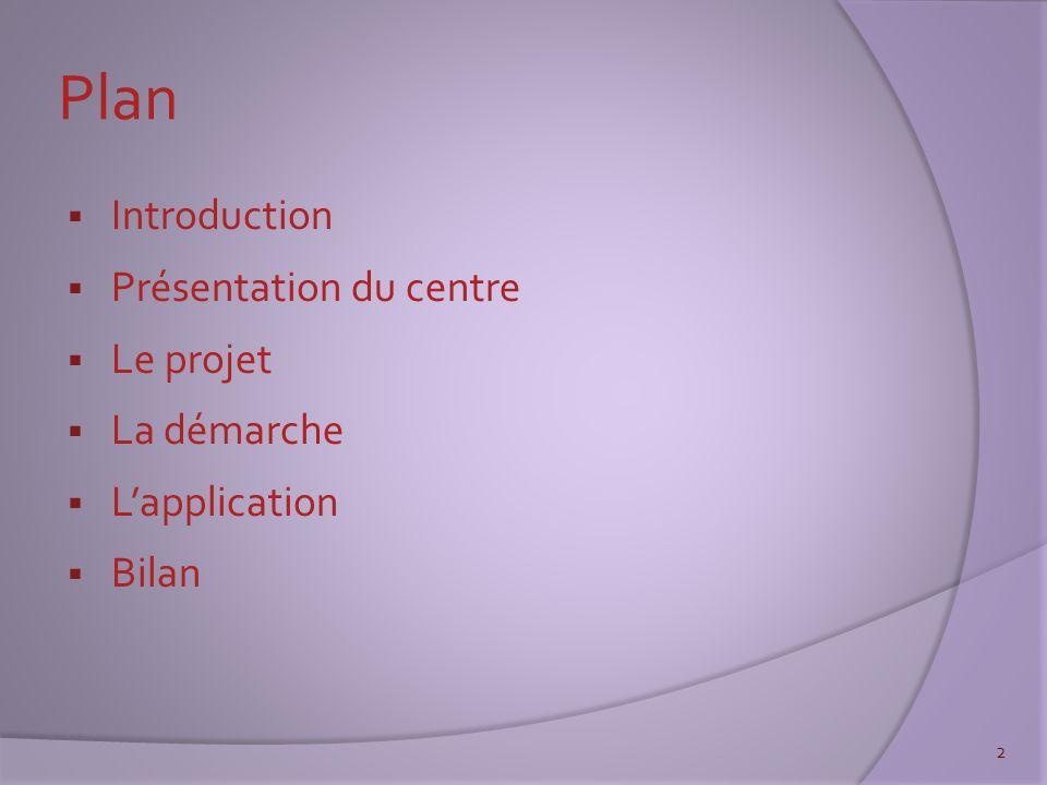 Plan  Introduction  Présentation du centre  Le projet  La démarche  L'application  Bilan 2