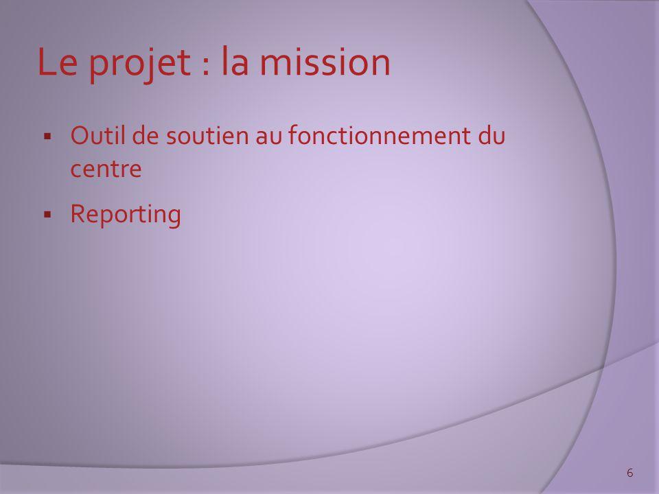 Le projet : la mission  Outil de soutien au fonctionnement du centre  Reporting 6
