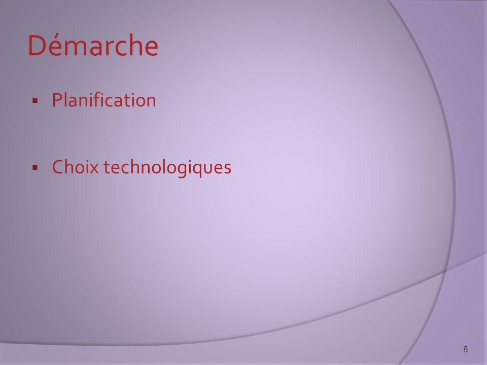 Démarche  Planification  Choix technologiques 8