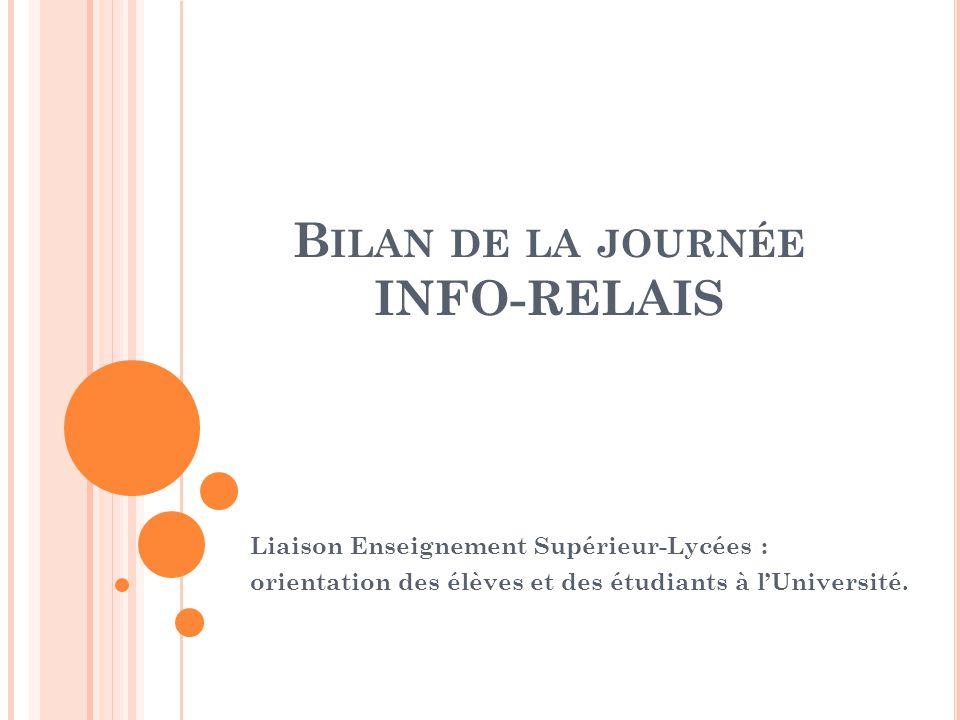 B ILAN DE LA JOURNÉE INFO-RELAIS Liaison Enseignement Supérieur-Lycées : orientation des élèves et des étudiants à l'Université.