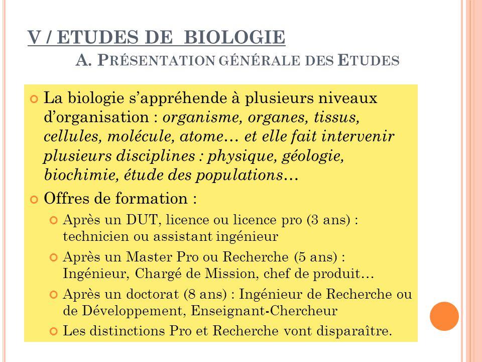 V / ETUDES DE BIOLOGIE A.