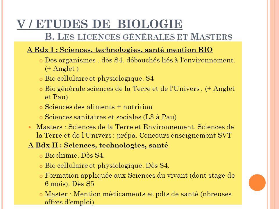 V / ETUDES DE BIOLOGIE B.