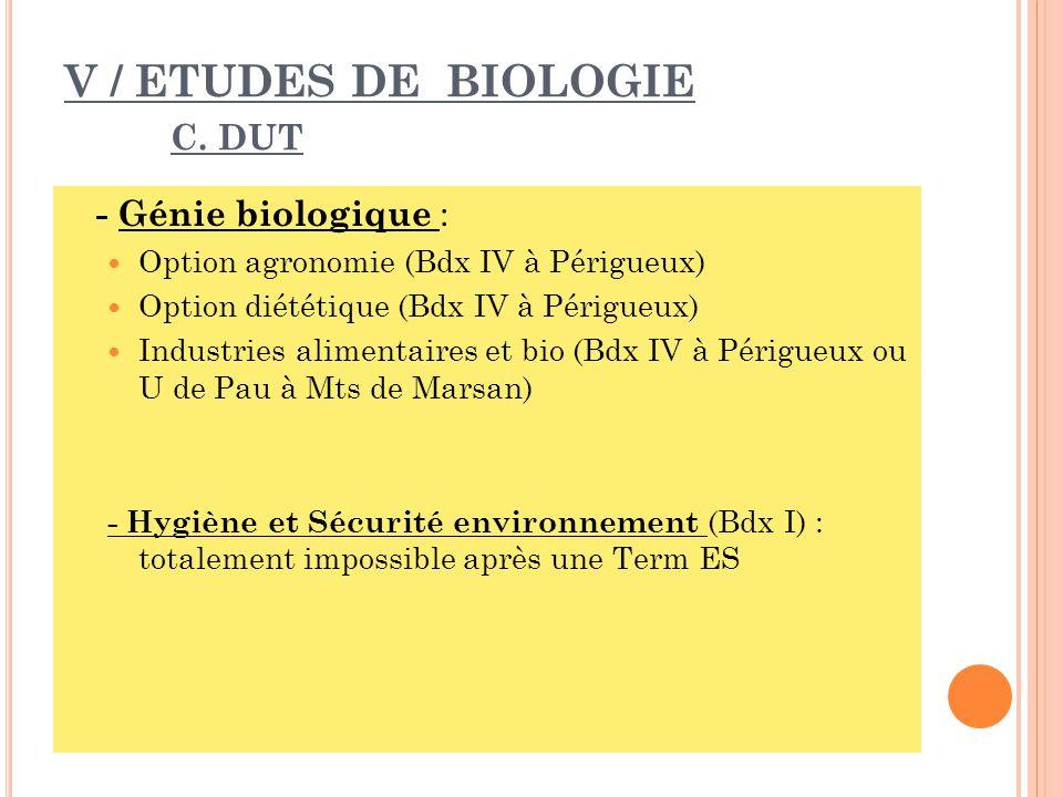 V / ETUDES DE BIOLOGIE C.