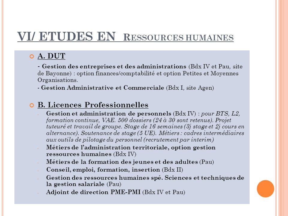 VI/ ETUDES EN R ESSOURCES HUMAINES A.