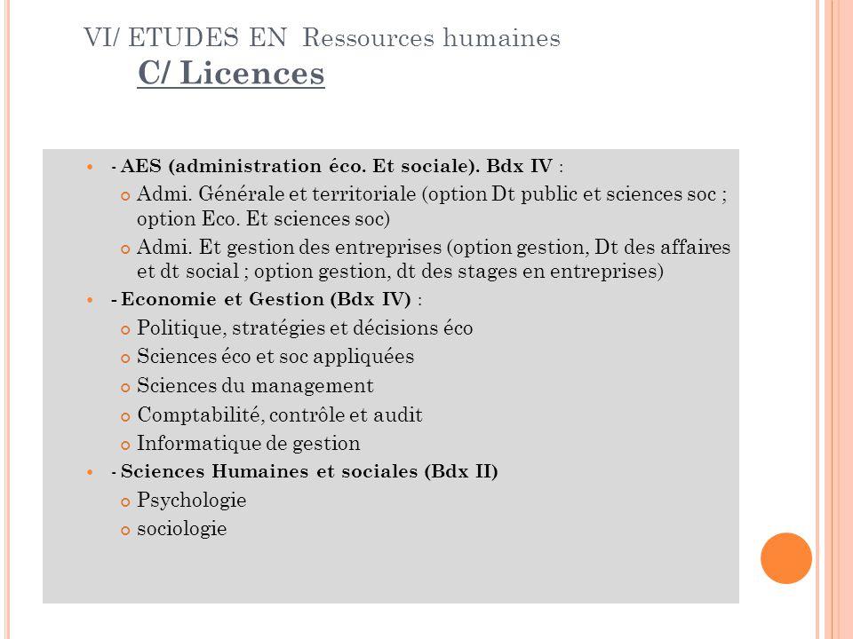 VI/ ETUDES EN Ressources humaines C/ Licences - AES (administration éco.